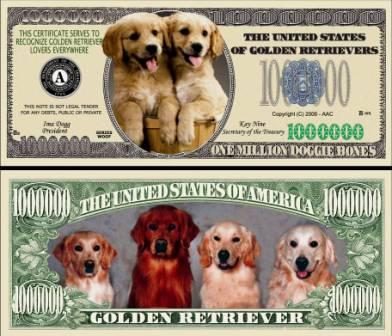 Dollars with Pictures of Goldens